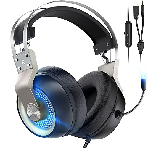 Gaming Headset für PS4/PS5/PC/Xbox One/Mac/Switch, Virtual 7.1 Surround Sound, 3.5mm USB Over-Ear Kopfhörer mit Noise Cancelling Mikrofon, LED-Licht (Silber)