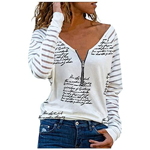 Pullover Damen Langarmshirt Langarm Locker Sweatshirt Gestreift Herz Gedruckt Oberteile mit Reißverschluss Frauen Sexy Herbst Tiefer V-Ausschnitt Tops Elegant Bluse Mädchen Lässig Basic Shirts Tunika
