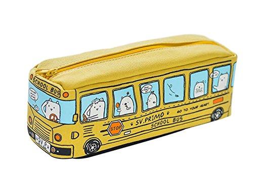 LAMEIDA Estuche Escolar Grande Capacidad para Niños Bolsa de Lapices Bolso de Papelería de Lona Azul Amarillo Naranja y Rojo Juguete de Autobús para Estudiantes Alumnos Chicas