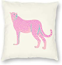Decorative Pillow Covers Pink Star Cheetah Throw Pillow Case Cushion Cover Home Decor,Square 22 X 22 inches