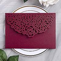 YIMIL 20 Pcs 5.12 x 7.21 inch Tri-fold Laser Cut Wedding Invitation Pocket for Wedding Quinceanera Bridal Shower Baby Shower Party Invite (Burgundy)