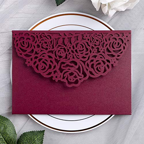 YIMIL 20 Pcs 5.12 x 7.21 inch Tri-fold Laser Cut Wedding Invitation Pocket for Wedding Quinceanera Bridal Shower Baby Shower Party Invite (Burgundy)