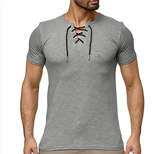 Camisa Delgada con Cuello en V para Hombres Camiseta Casual de Verano Camiseta básica en Color Liso