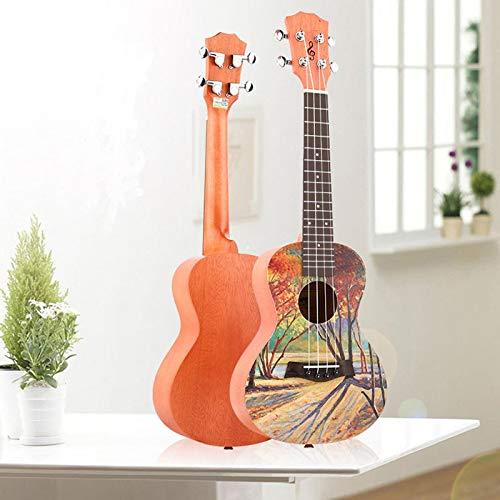 KEPOHK 23 Zoll bemalte Ukulele Mini Gitarre 4-saitige Palisander Griffbrett Mahagoni Top Fichte Anfänger Konzert Gitarre 23inch Ahorn Wald
