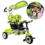 FLy Triciclo Doble Bebe Triciclo Gemelo para Niños con Cesta con Toldo Desmontable con Asa De Empuje Desmontable Traje para 12 Meses-6 Años,Verde