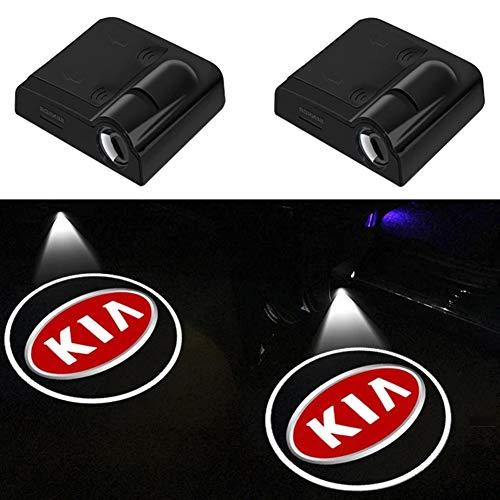 2PCS Wireless Led Autotür Willkommen Projektor Logo Ghost Shadow Lights Pfützenlampe Auto Warnleuchte Für KIA K2 K3 K5 K9 (Schwarz)