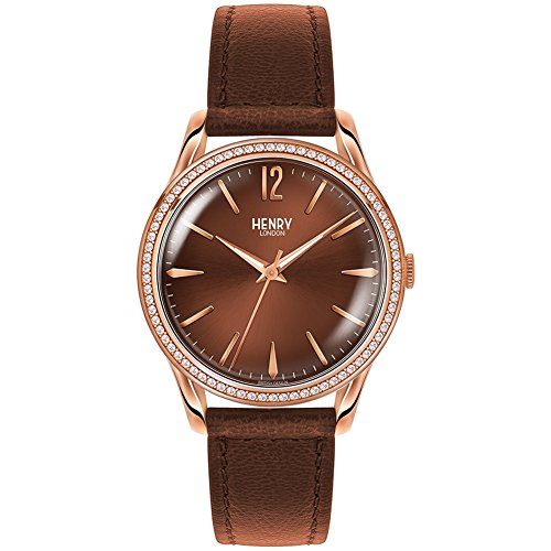 Henry London Reloj de Pulsera analógico para Mujer con Mecanismo de Cuarzo y Correa de Piel HL39-SS-0052