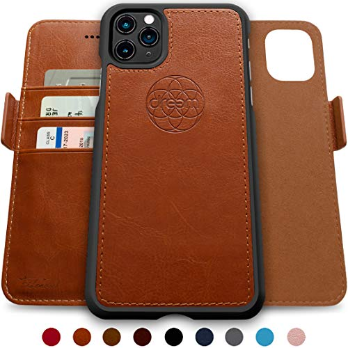 Dreem Fibonacci 2-in-1 Wallet-Case for Apple iPhone 12 Pro Max - Luxury Vegan Leather, Magnetic Detachable Shockproof Phone Case, RFID Card Protection, 2-Way Flip Stand -Caramel