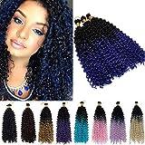 3 Paquetes Marlybob Crochet Extensiones de cabello Cabello Sintético Onda Profunda Rizado Trenzado Pedazo de Cabello Onda de Agua Afro Curl Twist Trenzas 35cm Negro a azul oscuro