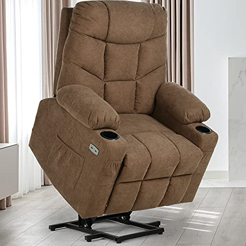 YITAHOME Electric Power Lift Recliner Chair for Elderly, Fabric Recliner Chair with Massage and Heat, Spacious Seat, USB Ports, Cup Holders, Side Pockets, Remote Control (Brown)