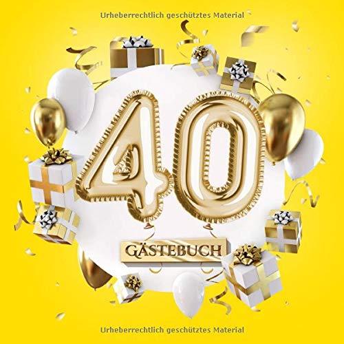 40 Gästebuch: Gelbe Deko zum 40.Geburtstag für Mann oder Frau - 40 Jahre Geschenk - Partydeko Gelb...