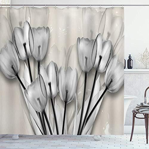 DYCBNESS Duschvorhang,Tulpe Blume Moderne Bouquet Tulpe mit monochromem Elfenbein Hintergr&,Langhaltig Hochwertig Bad Vorhang Polyester Stoff Wasserdichtes Design,mit Haken 180x180cm