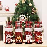 KEAIDO Juego de 4 bolsas de botella de vino de Santa Claus, de Navidad, de vino tinto y champán, para el hogar, hotel, restaurante, fiesta, boda, inauguración de la casa