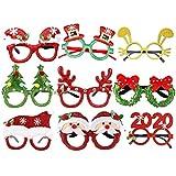 Amosfun Occhiali di Natale per Halloween divertenti, feste e festival, con caricatura, cornice per occhi, per Natale, feste, cosplay, 9 pezzi