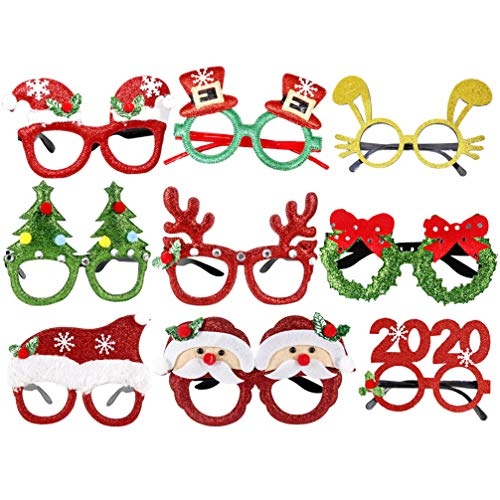 Amosfun Weihnachtsbrillen Halloween-Kostüme lustig festlich Fotokabine Requisiten Karikatur Augenrahmen Eyewear für Weihnachten Partei Cosplay Partei 9 PC