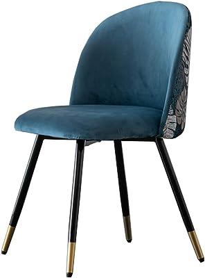 LJFYXZ Modern Design Dining Chairs with Sturdy Metal Legs Back Velvet Living Backrest Side Chair Household Dressing Stool Suitable for Living Room Kitchen (Color : Blue)