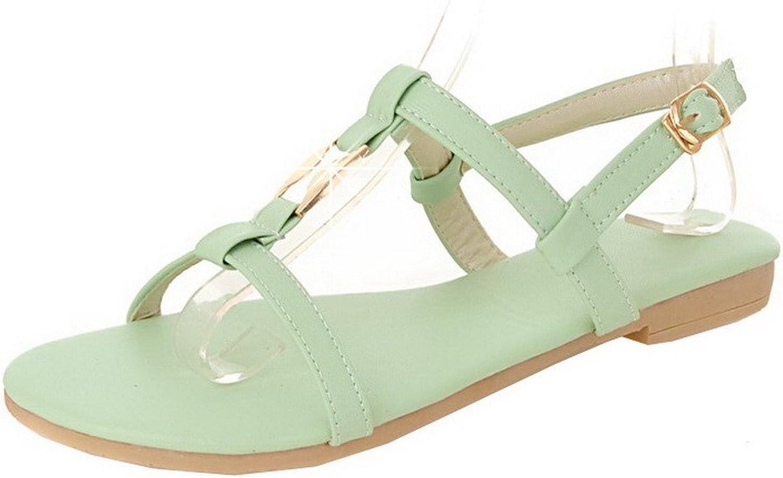 WeiPoot Women's Buckle Open-Toe Low-Heels Pu Solid Sandals, EGHLG004902