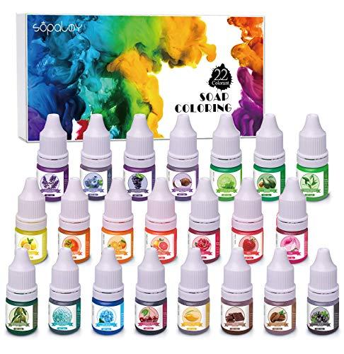 22 Colors Bath Bomb Soap Dye, Food Grade Skin Safe Bath Bomb Colorant, Natural Liquid Soap Colorant for DIY Bath Bomb Supplies.