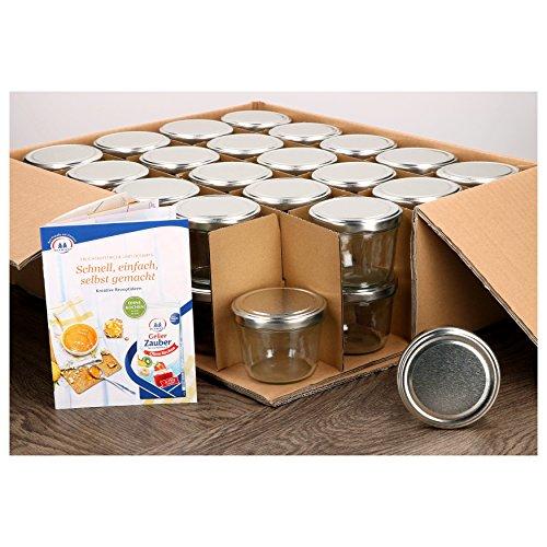 MamboCat 40er Set Sturzgläser 230 ml mit silbernem Deckel to 82 inkl. Diamant Gelierzauber Rezeptheft Marmeladengläser Einmachgläser Einweckgläser