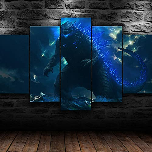 VYQDTNR Handart Cuadro en Lienzo 150x80Cm Impresión de 5 Piezas Pintura sobre Imagen Gráfica Decoracion de Pared - Godzilla Monster King Imagen de póster Arte-Marco