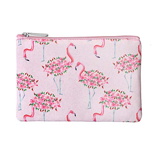 Rantanto Canvas Pencil Holder Case Pen Stationary Pouch Cosmetic Makeup Bag (CPH002 Flamingo)