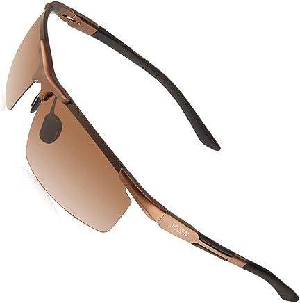 5ba2f1fbeb1 JOJEN Men s Polarized Sports Sunglasses for Men Al-Mg Metal Ultra Light Semi  Rimless Frame