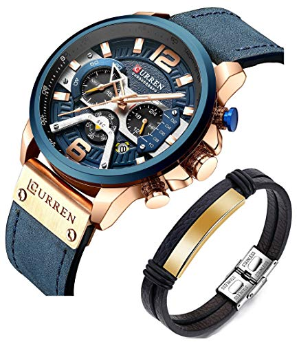 Price comparison product image CURREN Watches Men Quartz Leather Chronograph Watch and Fashion Bracelet Set Blue Watches for Men Luxury Wristwatch Gifts (Blue)