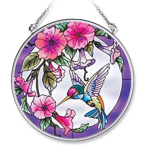 Amia Handpainted Glass Pink Morning Glory and Hummingbird Suncatcher 41/2Inch 7245
