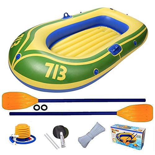 Fishing Boats Inflatable Kayaks Assault Boats Fishing and Outdoor Rafting 2-Person Thickened Rafting Boats Folding Portable Rubber Boats Suitable for Lakes Deustli Inflatable Boat