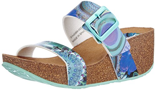 Desigual Shoes Samanta - Sandalias de Vestir de Material sintético para Mujer, Color Turquesa, Talla 38