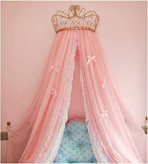 KID LOVE Princess Bed Canopy,Crown Dome Bed Curtain for Girls Pink Bow-Knots Decorative Drapery-c