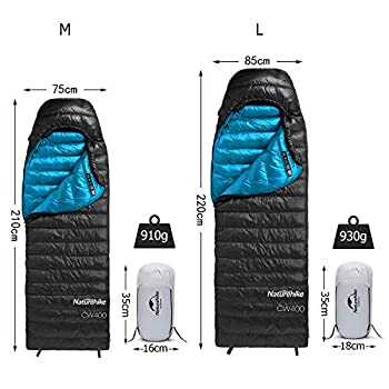 Duvet d'oie Naturehike Sac de Couchage 550/750FP,Ultra léger 910g Compact Portable 1personne pour Adulte,Grand Place pour se bouger sans souci,3-4 Saisons,avec Sac de Compression