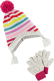 Girls Carters Pom PomLove Hat /& Gloves Set