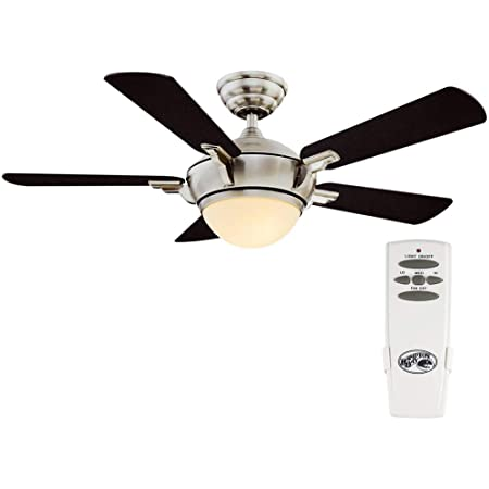 Amazon Com Hampton Bay 68044 Midili 44 Led Indoor Brushed Nickel Ceiling Fan With Light Kit And Remote Control Home Kitchen