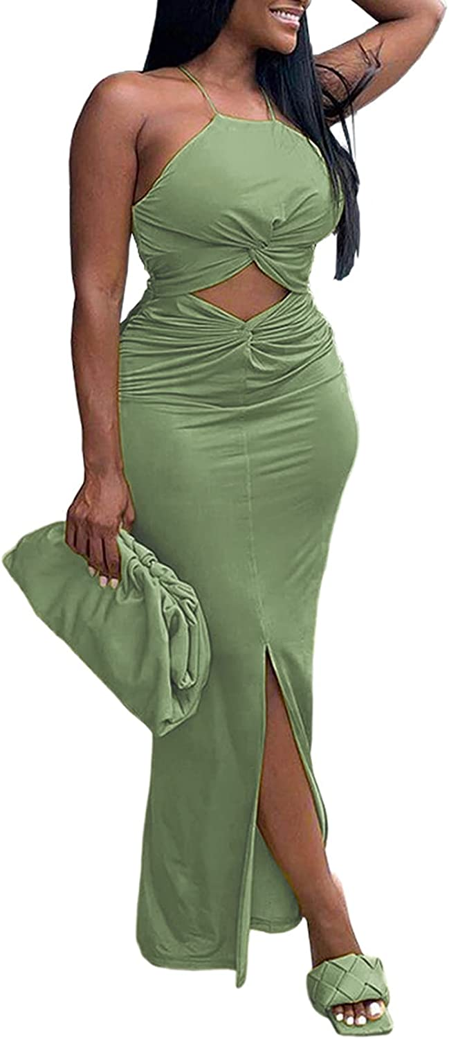 acelyn Women's Sexy Bodycon Maxi Dress Sleeveless Hollow Out Twist Wrap Slim Party Evening Dresses