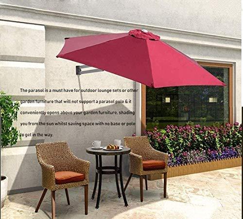 XINTONGSPP 250cm Wall Garden Regenschirme, Halb Sided Villa Hof Balkon Wandbehang Markise Dachterrasse Regenschirm Retractable Folding Sonnenschirm, Rot