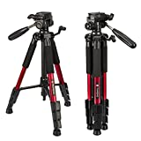 Tairoad Lightweight Tripod Portable Video Compact Camera Tripod with 3-Way PanHead and Quick Release Plate for...