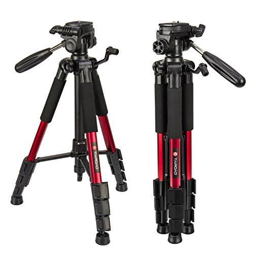 Tairoad Lightweight Tripod Portable Video Compact Camera Tripod with 3-Way PanHead and Quick Release Plate for Digital SLR Canon EOS Nikon Sony Panasonic Samsung - Red