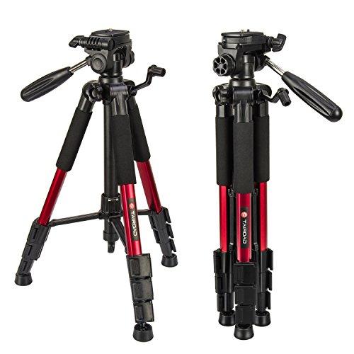 Leichte Stativ – Tairoad Tragbare Kompakt Kamera Stativ mit 360 Grad Schwenkkopf und Schnellwechselplatte für DSLR Canon EOS Nikon Sony Panasonic Samsung – Rot