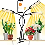 Claoner Indoor Plant Light with Bluetooth, Full Spectrum Adjustable Grow Lamp with Remote Control, Clip Grow Light with 24 Hour Monday-Sunday Timer House Plant LED Growing Light