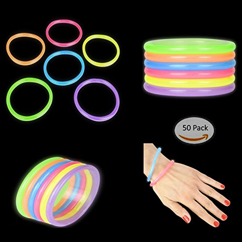 Play Kreative Kids Light-up Glow Stick Bracelets - Pack of 50 Glow in The Dark Bracelets - 8