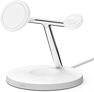 Belkin MagSafe 3-in-1 Wireless Charger for iPhone 12 + Apple Watch + AirPods (Magnetically Charges iPhone 12 Models up to ...