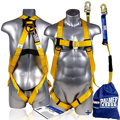 Palmer Safety Fall Protection Universal Body Safety Harness w/Detachable 6' Single Leg Lanyard I Shock Absorber Lanyard I OSHA/ANSI Fall Arrest KIt I Ideal for Industrial & Construction Use (Yellow)