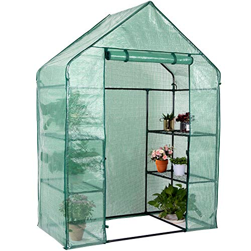 Hello-5ive Walk In Greenhouses for Garden and Outdoor, 3 Shelves Heavy Duty Growhouse with...