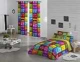 NATURALS Juego De Funda Nórdica Hello Multicolor Cama 90 (150 x 220 cm + 45 x 110 cm)