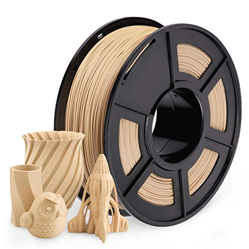 SUNLU 3D Printer Filament PLA, 1.75mm PLA Wood Filament, 1kg/2.2lbs Spool, Dimensional Accuracy 1.75 +/- 0.03 mm, Low Temp Wood Filament