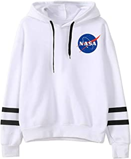 FLYCHEN Women's Fashion NASA Hoodie National Space Administration Logo Sweatshirt