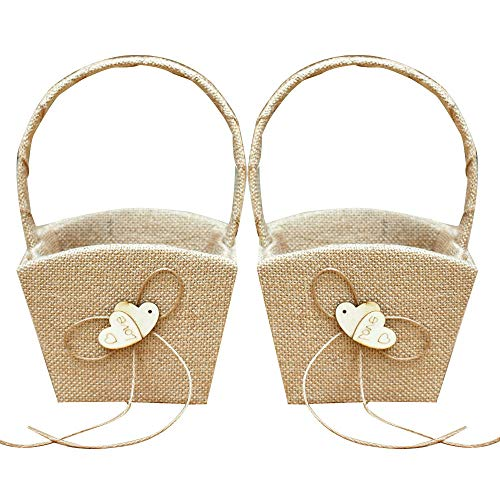 XYJIE 2PCS Arpillera Doble Corazón Boda para niña de flores cesta con Bowknot para ceremonia de boda rústica vintage