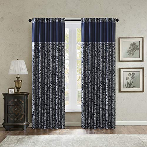 "Madison Park Aubrey Faux Silk Paisley Jacquard, Rod Pocket Curtain with Privacy Lining for Living Room, Kitchen, Bedroom and Dorm, 50"" x 84"", Navy"