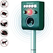Wikoo Solar Powered Ultrasonic Animal and Pests Repeller,Outdoor Weatherproof Repeller Support Micro USB Cable Charging,Motion Activated with Flashing LED Light and Ultrasonic Sound to Repel Animal